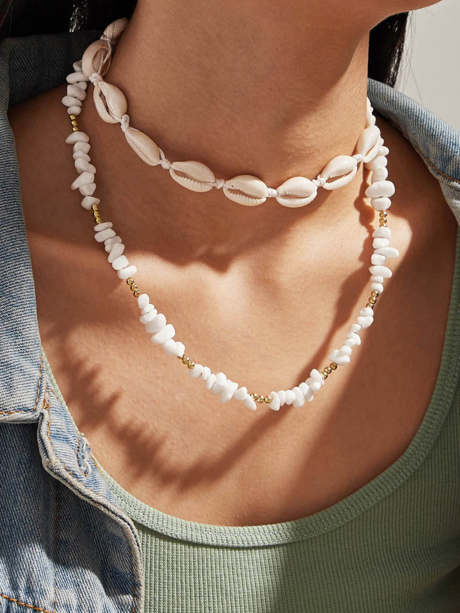 1pc Shell & Beaded Layered Necklace