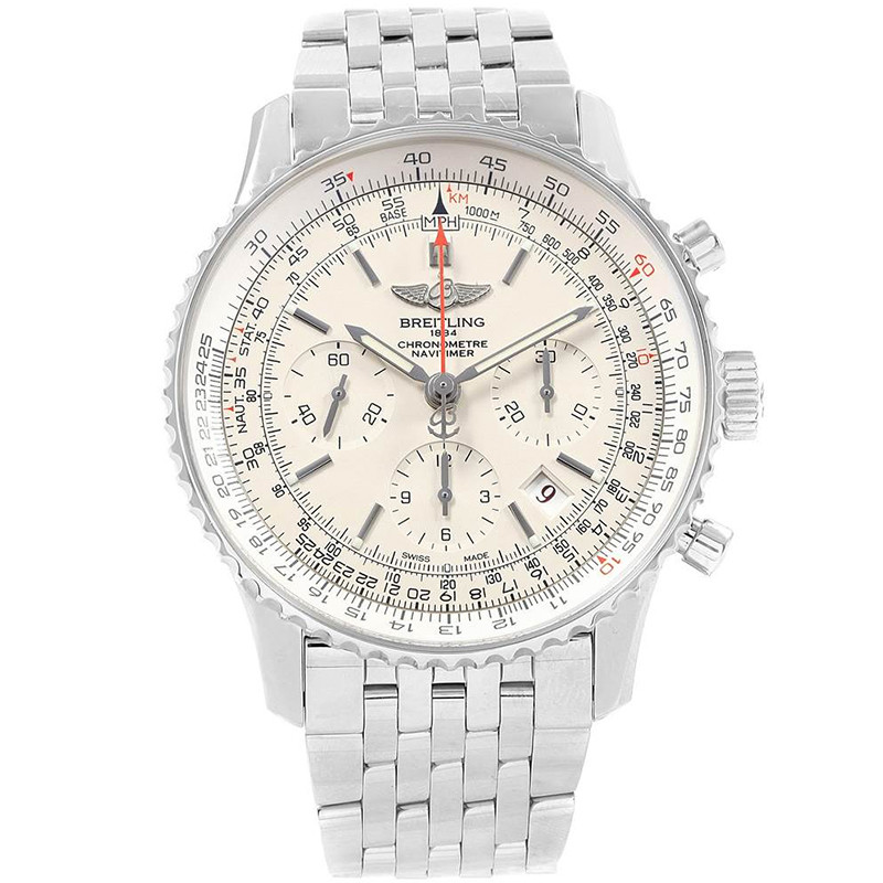 Breitling Silver Stainless Steel Navitimer 01 AB0123 Men's Wristwatch 43MM