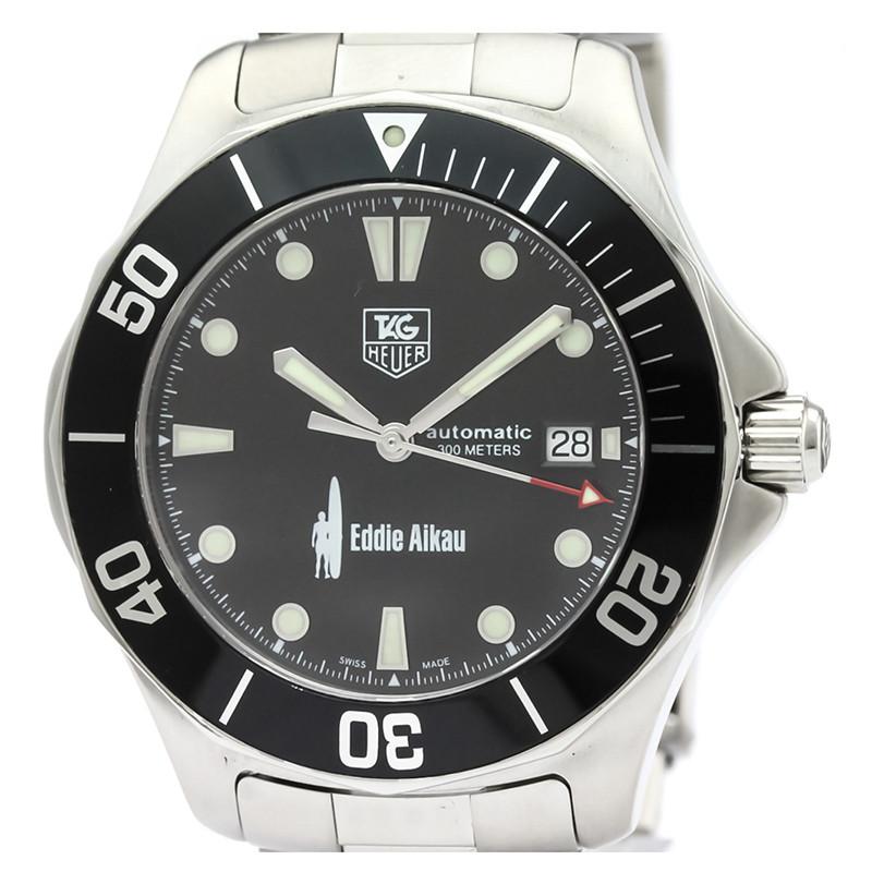 Tag Heuer Black Stainless Steel Aquaracer Eddie WAB2012 Men's Wristwatch 41MM
