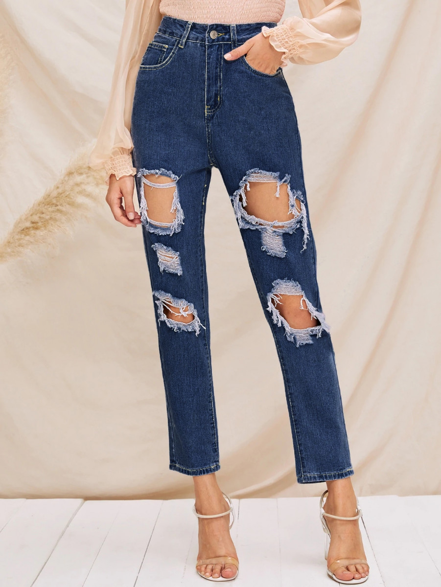 Destroyed Ripped Detail Jeans