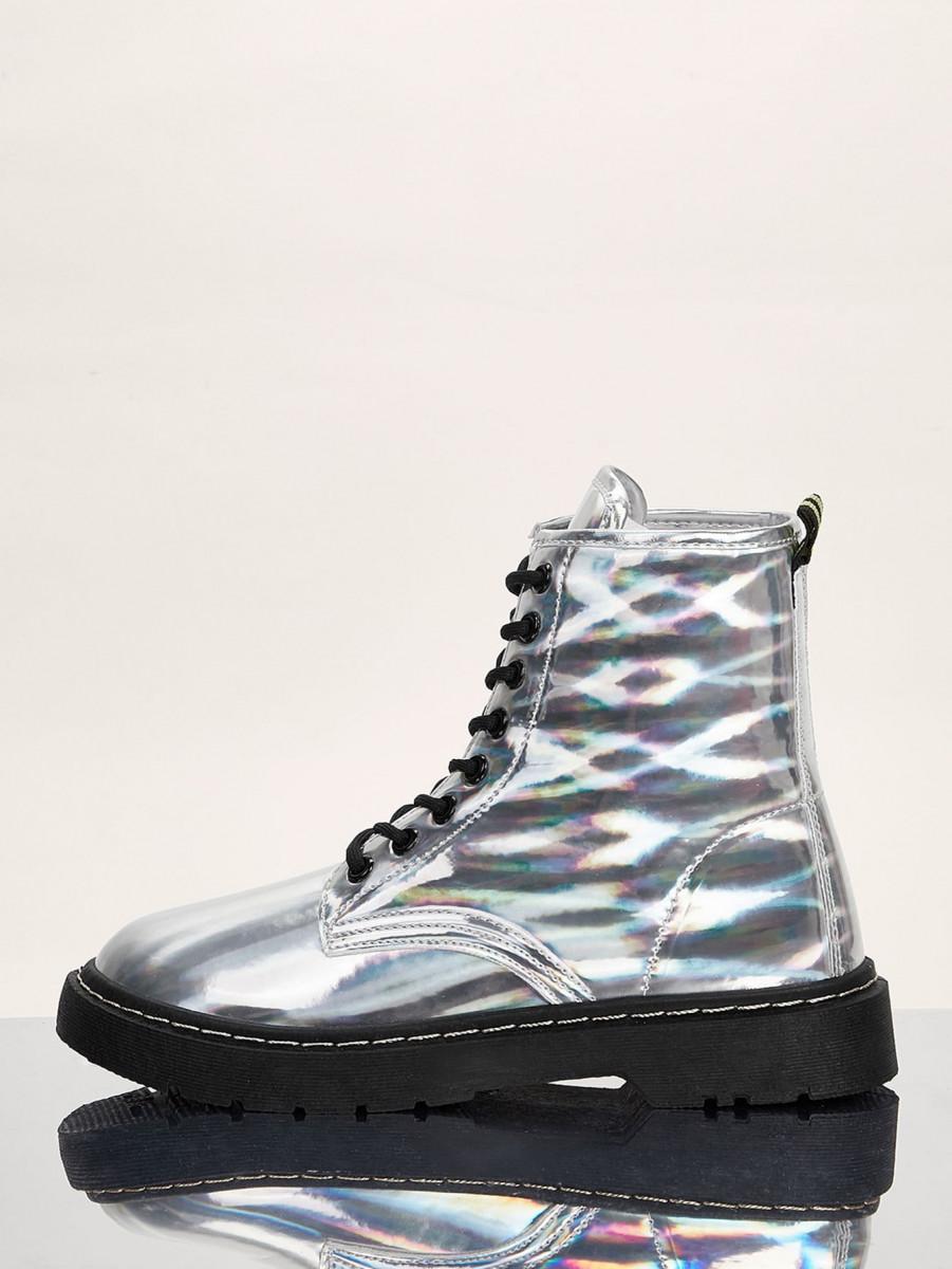 Holographic Lug Sole Combat Boots