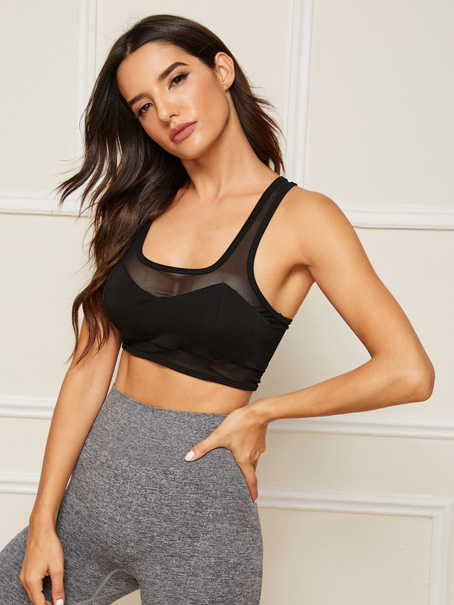 Contrast Mesh Racer Back Sports Bra