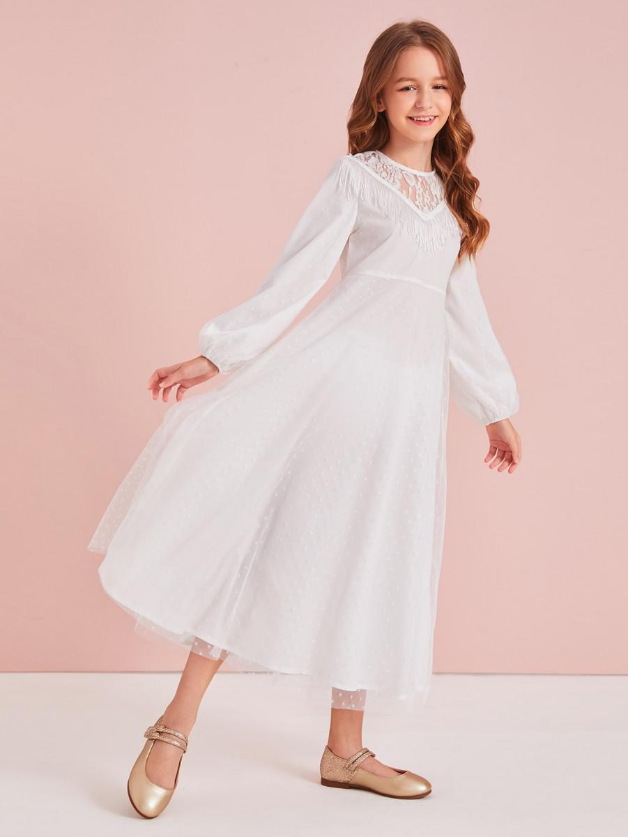 Girls Lace Insert Fringe Detail Dobby Mesh Overlay Dress