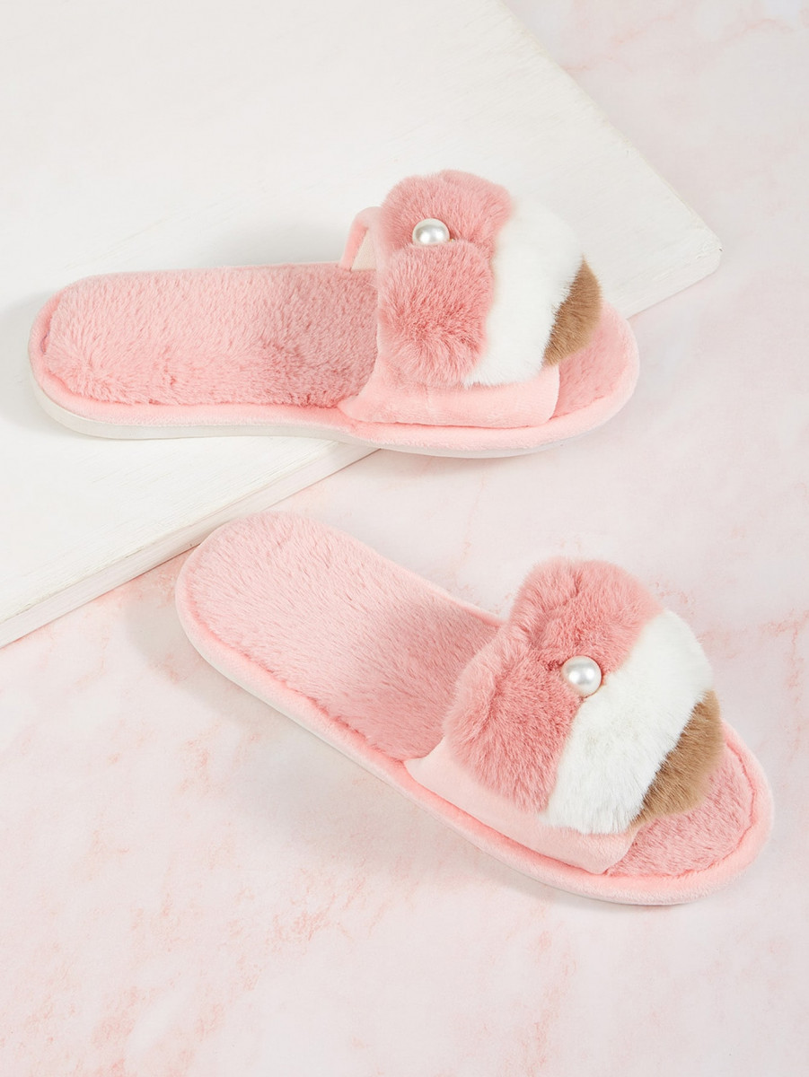 Pearl Decor Faux Fur Slippers