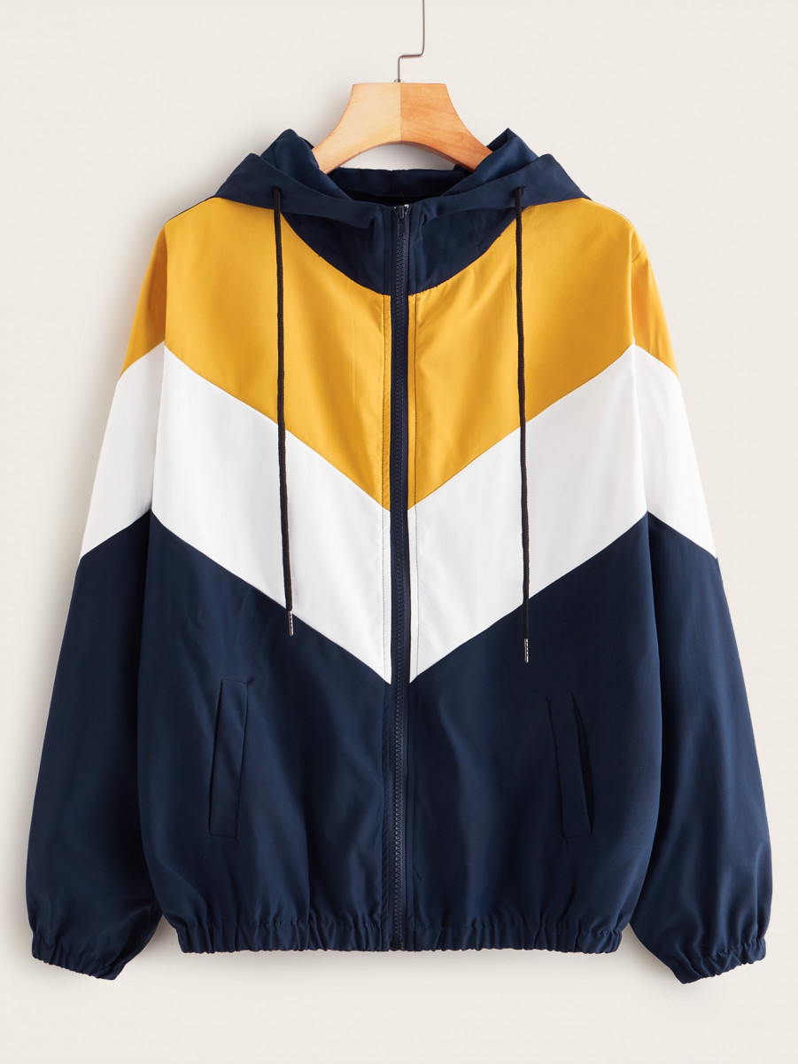 Cut And Sew Panel Zip-up Windbreaker Jacket
