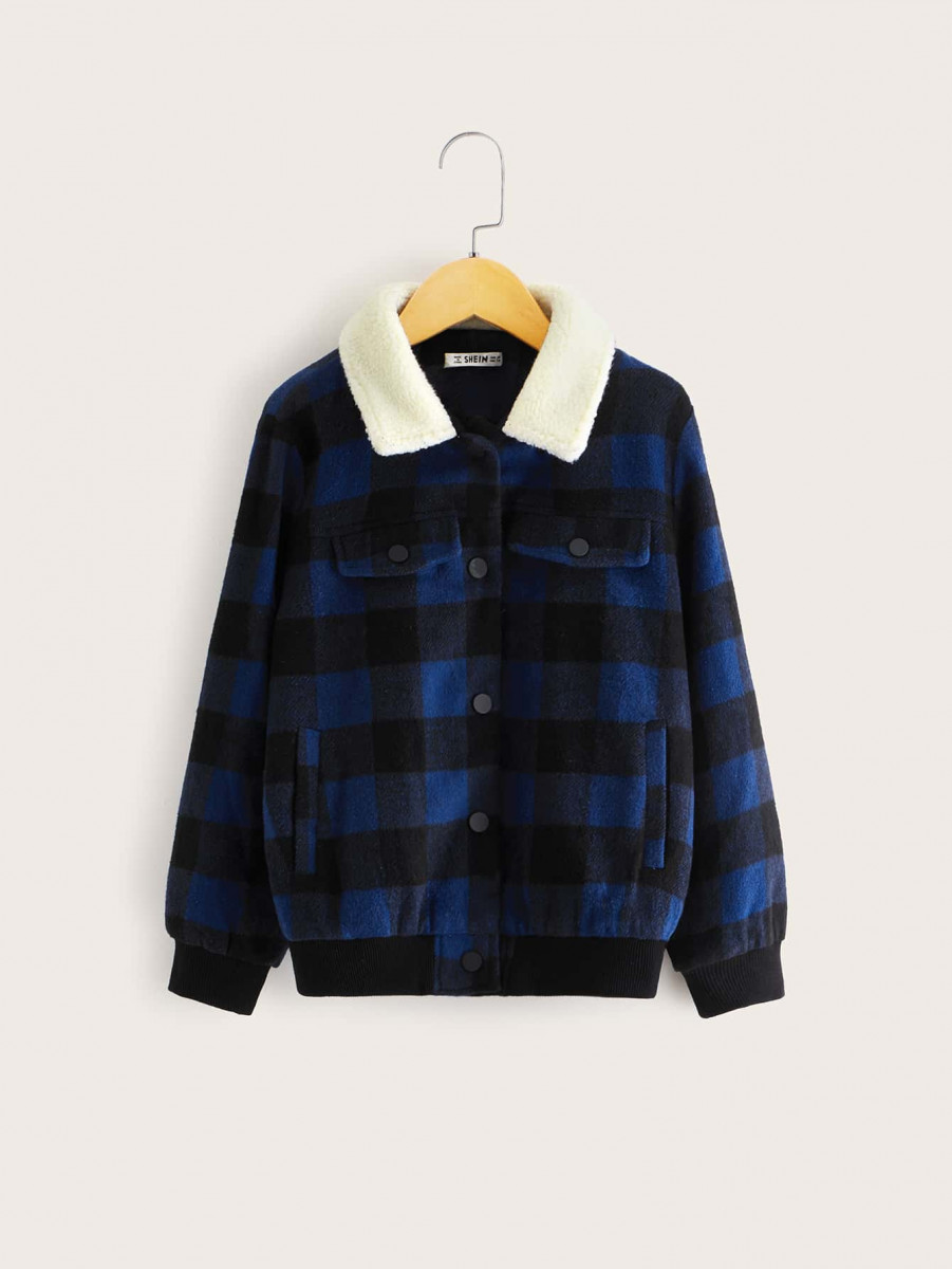 Boys Contrast Teddy Collar Gingham Jacket