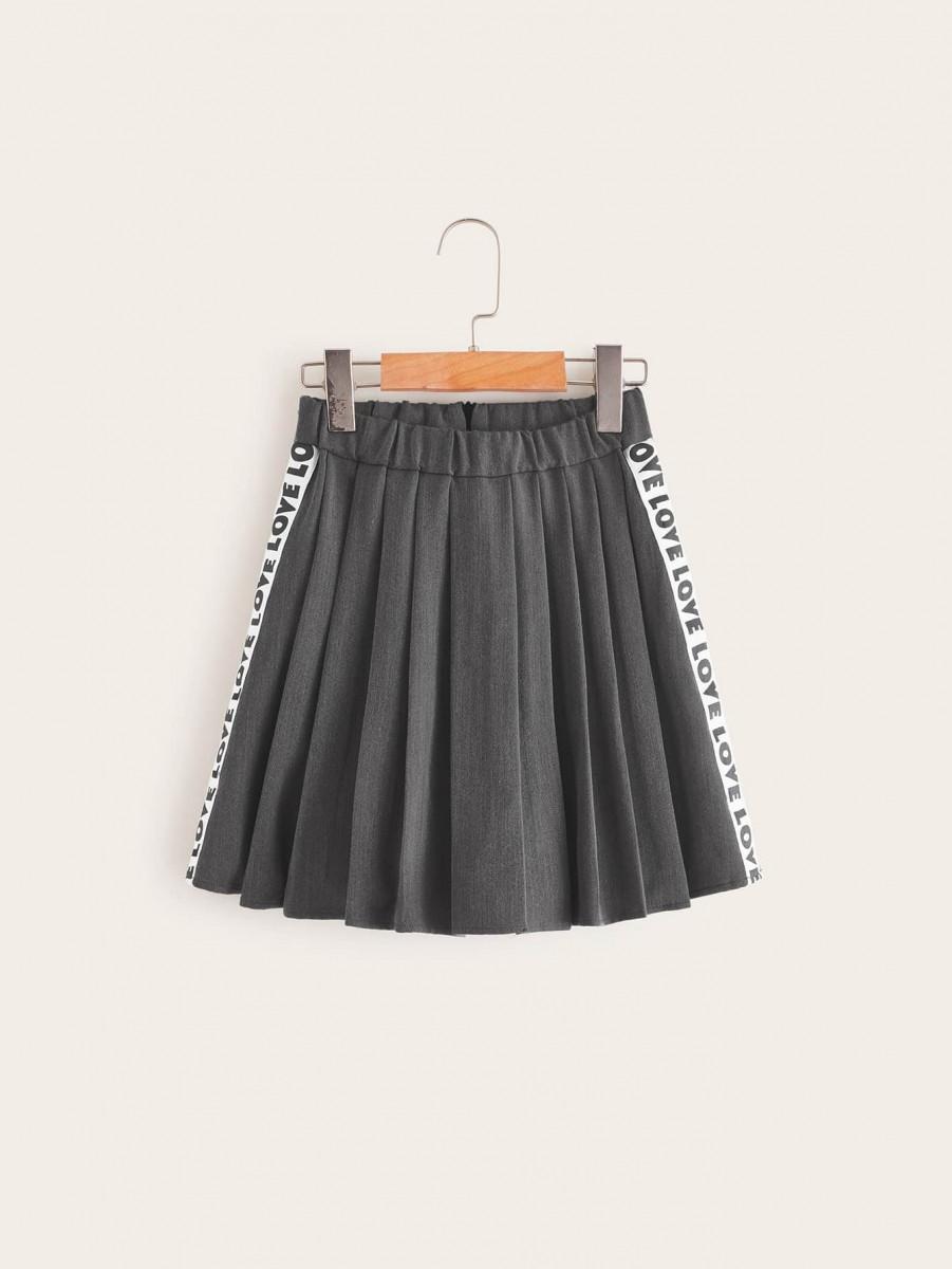 Girls Letter Tape Pleated Skirt