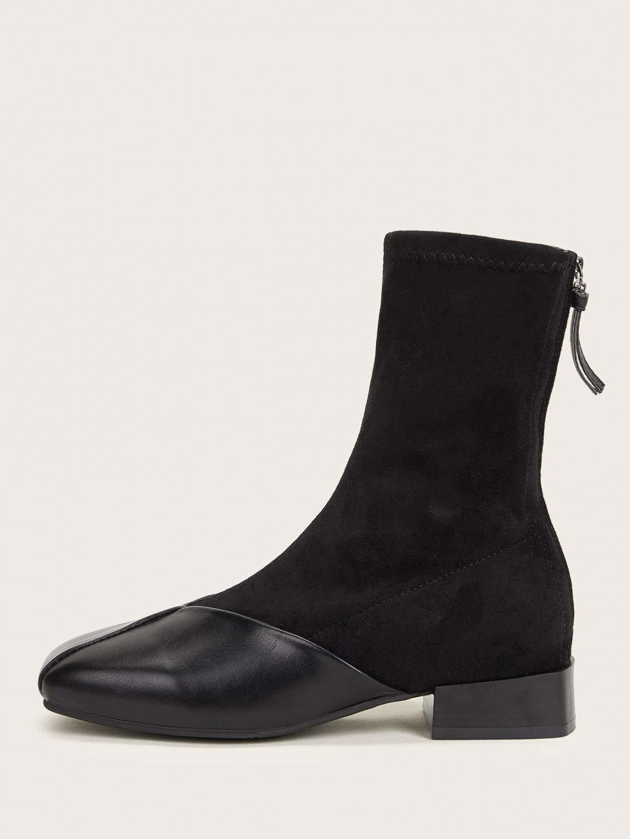 Square Toe Zip Back Boots