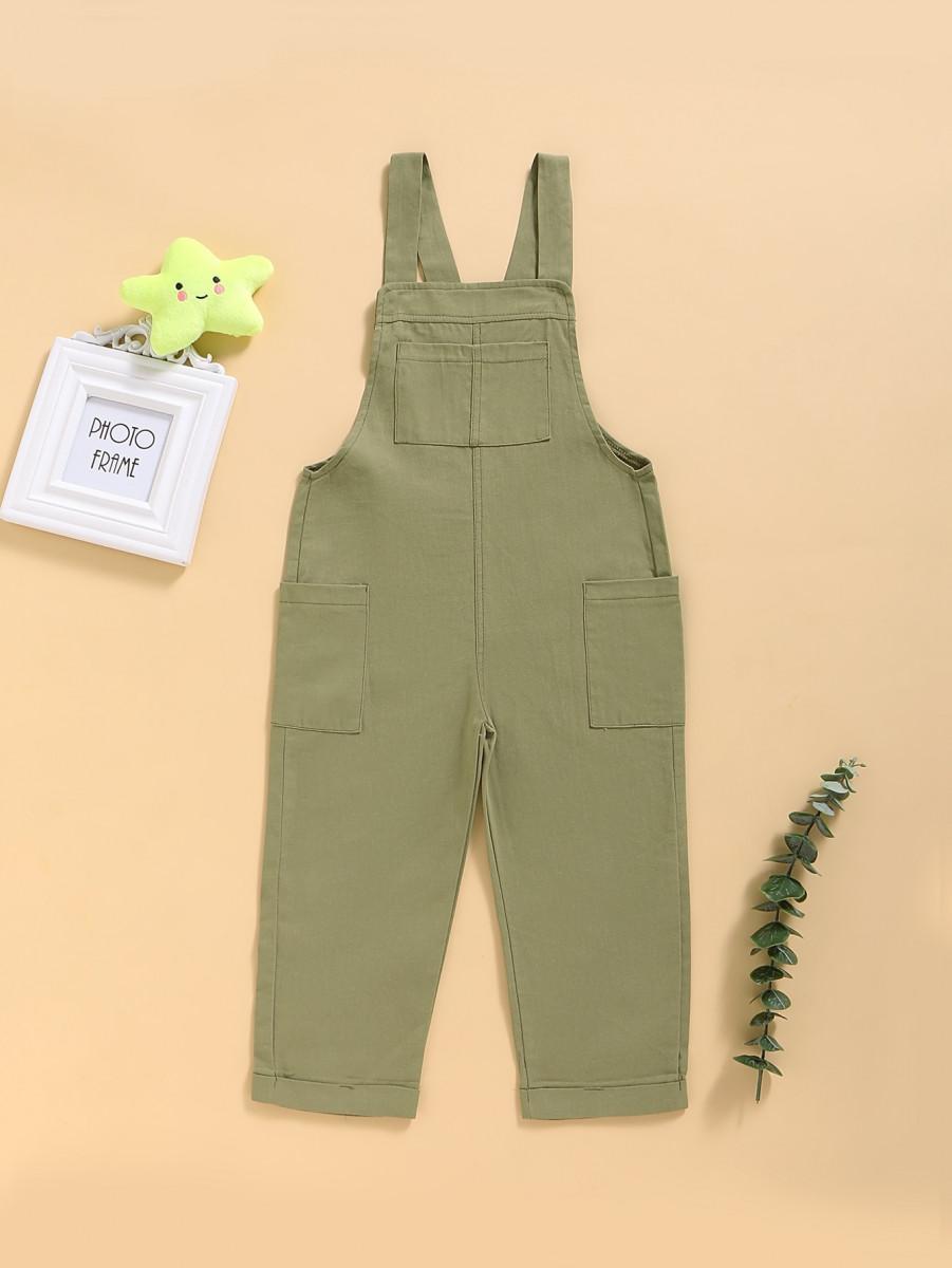 Toddler Boys Side Pockets Cargo Overalls