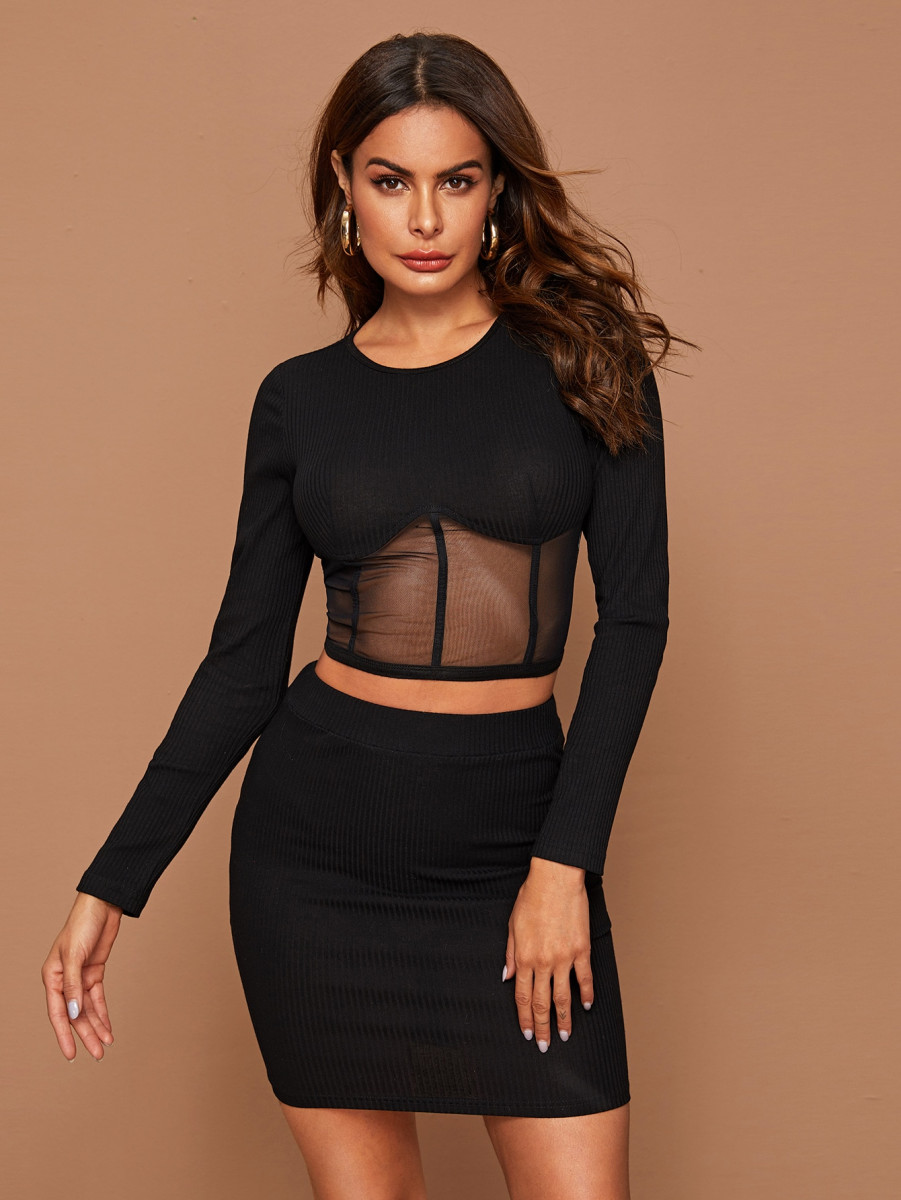 Mesh Panel Rib-knit Crop Top and Bodycon Skirt Set