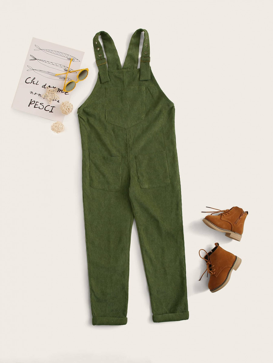 Girls Pocket Front Corduroy Overall Jumpsuit