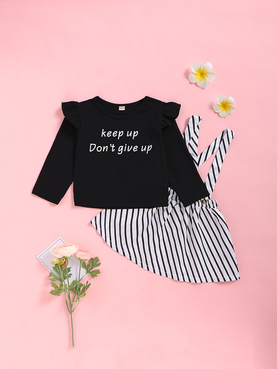 Toddler Girls Slogan Graphic Tee With Striped Skirt