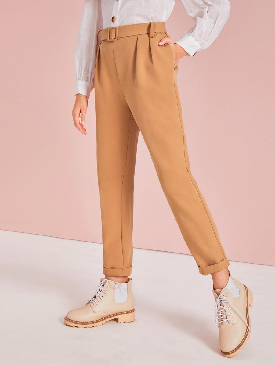 Girls Solid Roll Hem Belted Pants