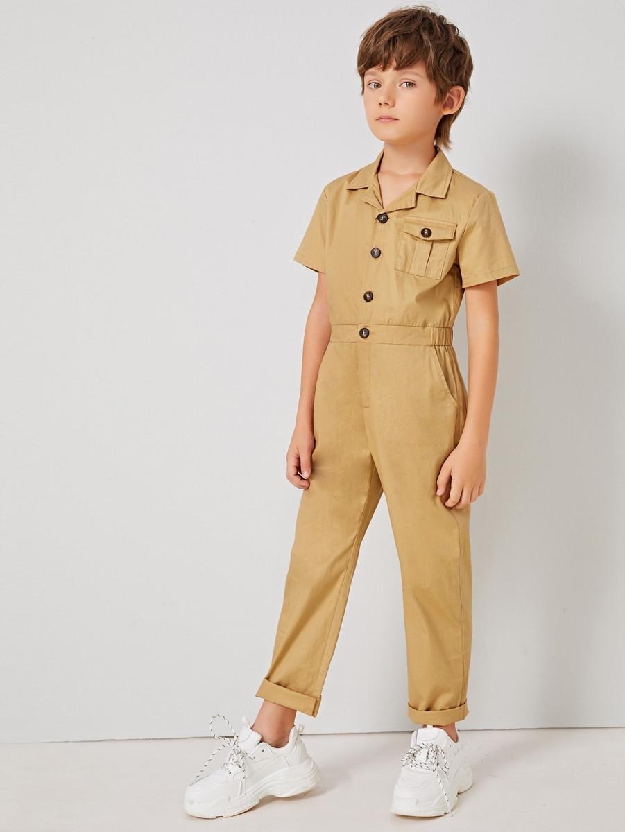 Boys Flap Pocket Button Front Cargo Jumpsuit