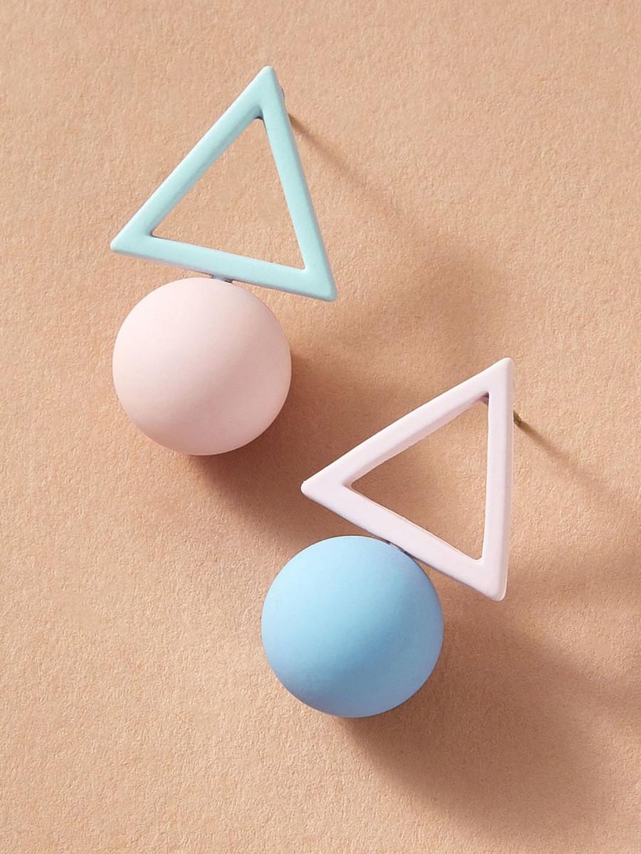 1pair Two Tone Geometric Earrings