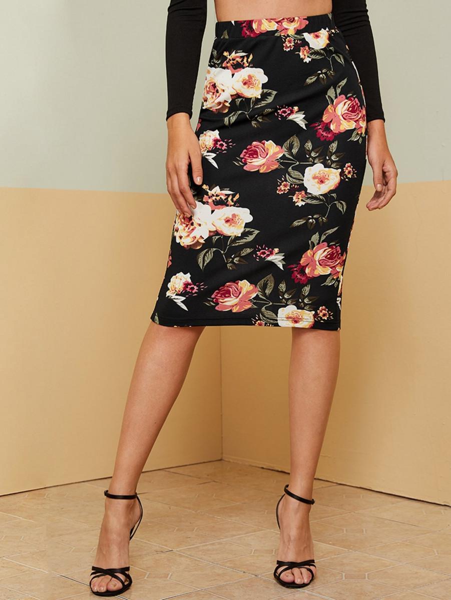 Floral Print Elastic Waist Pencil Skirt