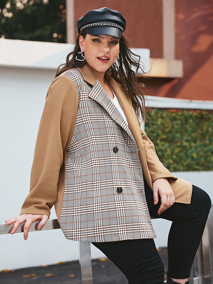 Plus Plaid Print Double Breasted Belted Blazer