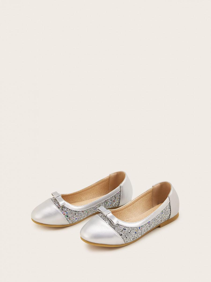 Girls Bow Decor Glitter Flats