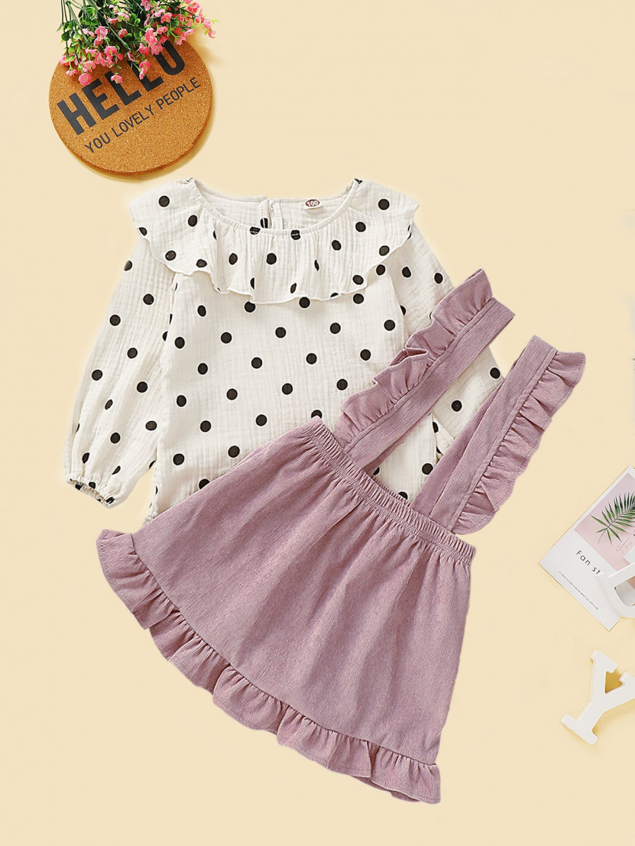 Toddler Girls Polka Dot Ruffle Top & Pinafore Skirt