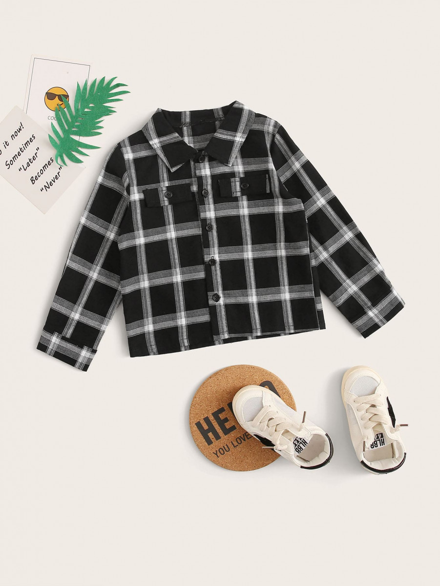 Toddler Boys Flap Pockets Plaid Shirt