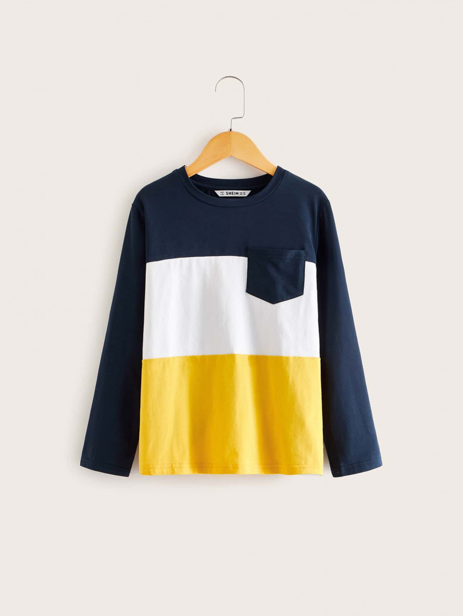 Boys Pocket Patched Colorblock Tee