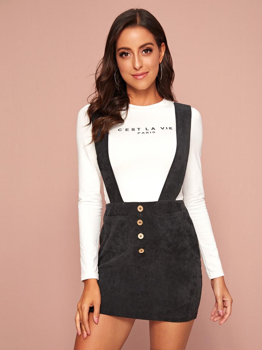 Slogan Graphic Top & Cord Suspender Skirt Set