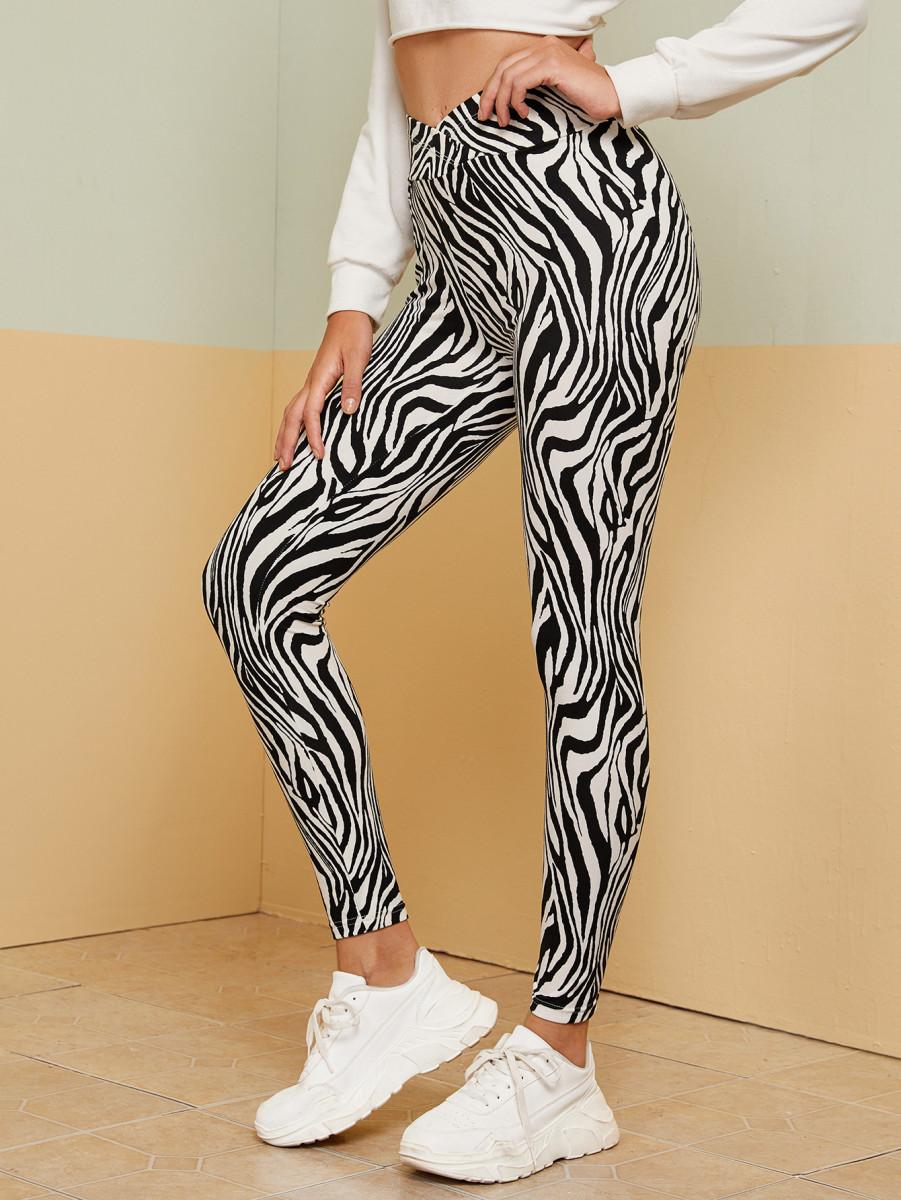 Overlapped Waist Zebra Striped Leggings