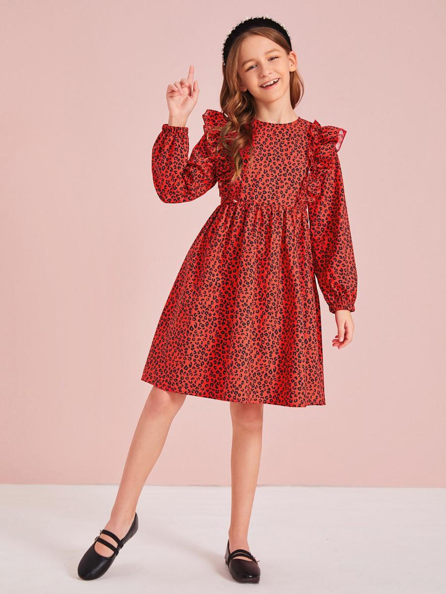 Girls Leopard Print Ruffle Detail Flare Dress