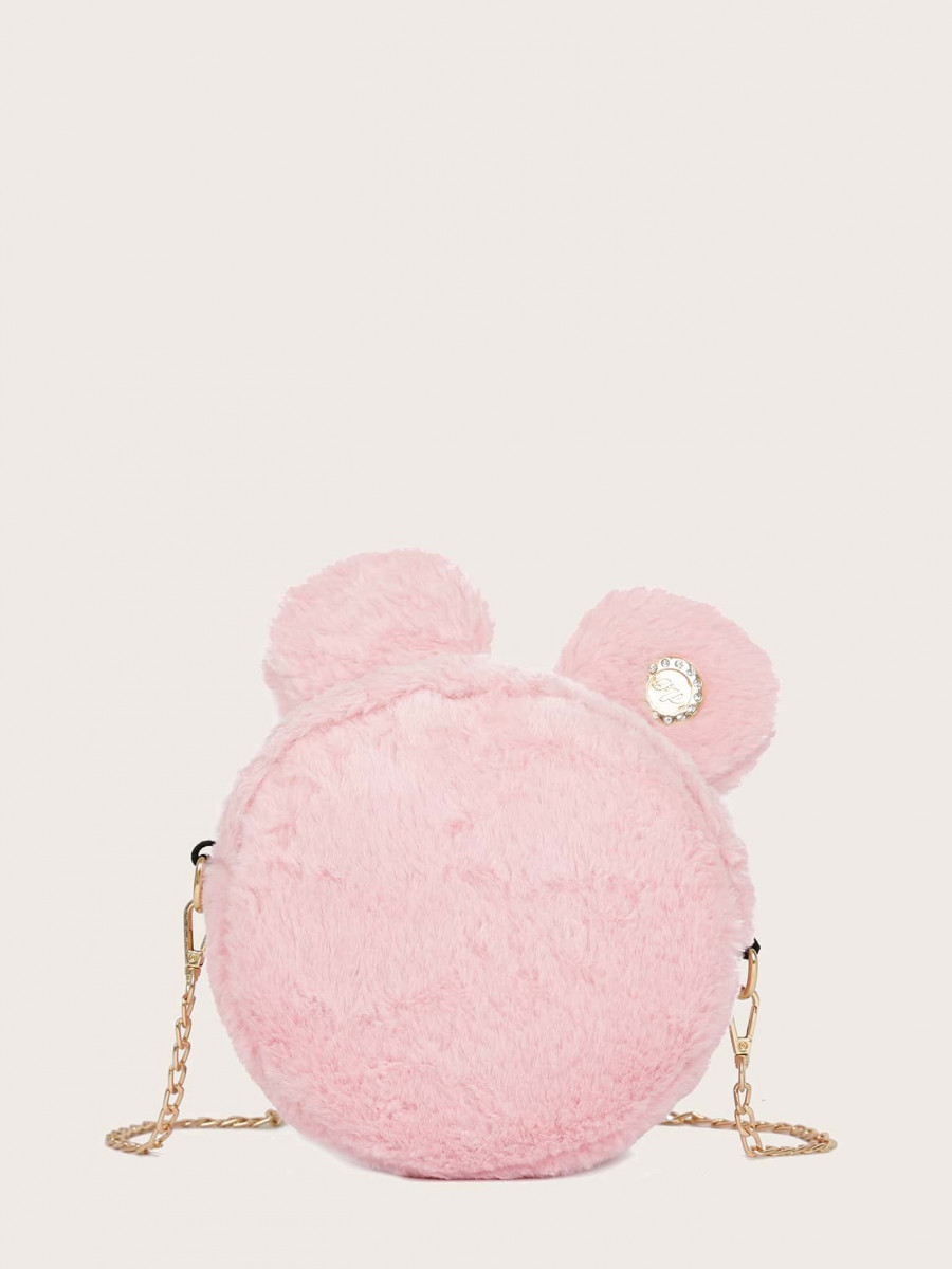 Girls Rhinestone Detail Fluffy Chain Bag