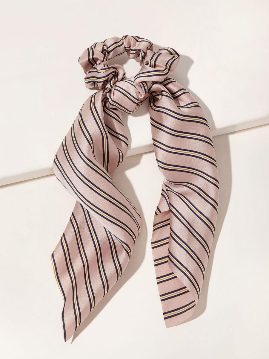 Striped Pattern Scrunchie Scarf
