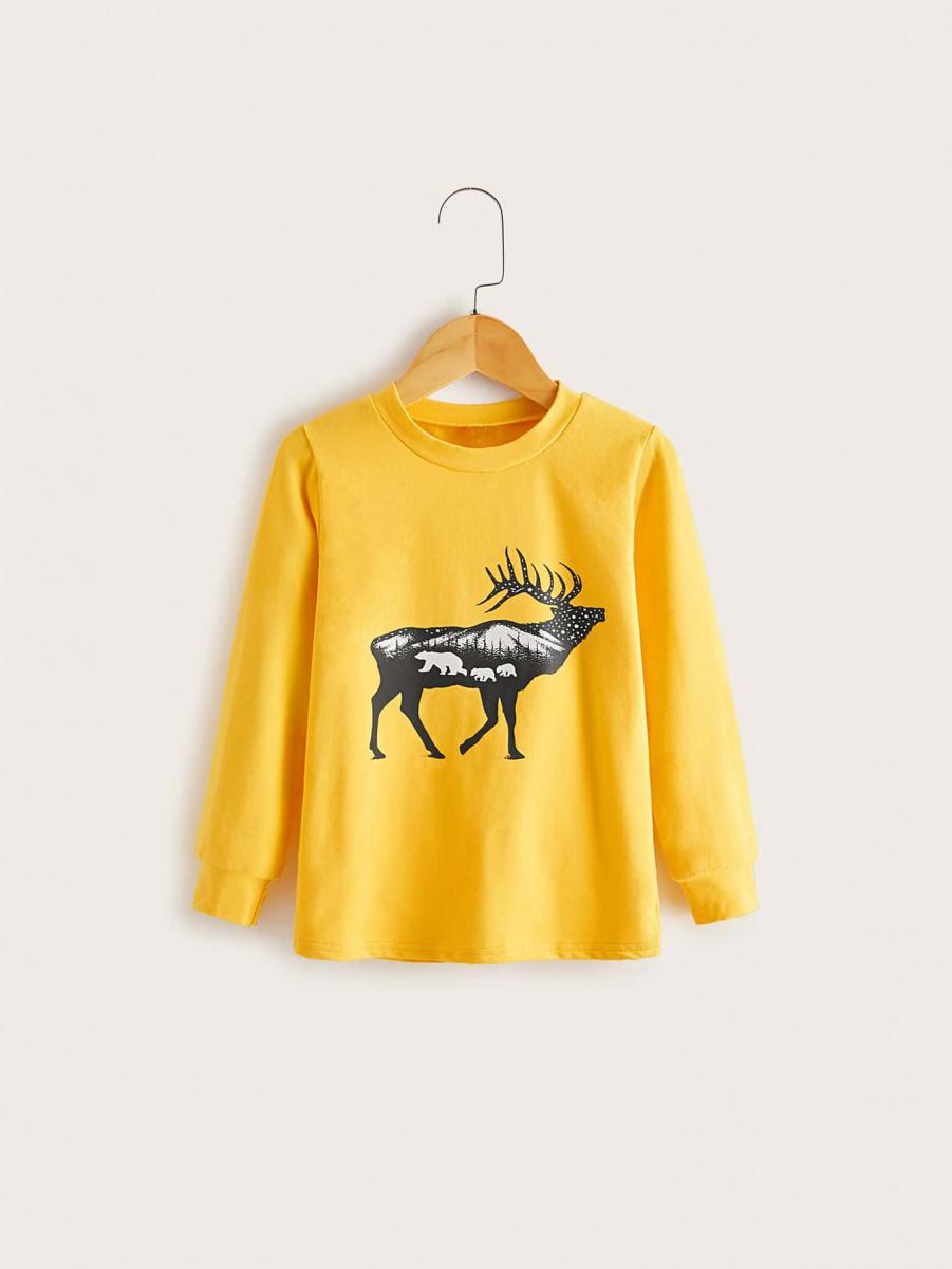 Toddler Boys Deer Print Round Neck Sweatshirt