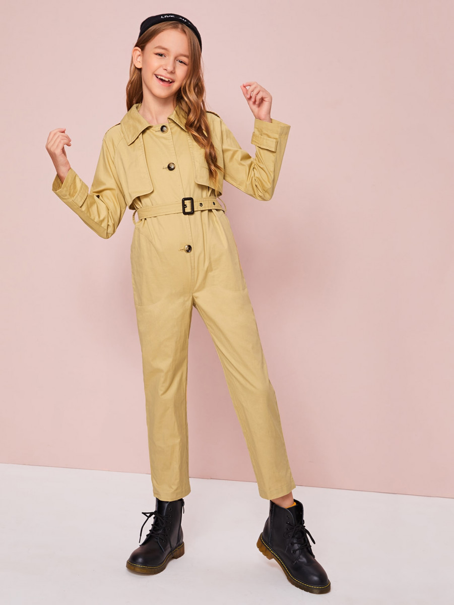 Girls Buttoned Front Buckle Belted Trench Jumpsuit