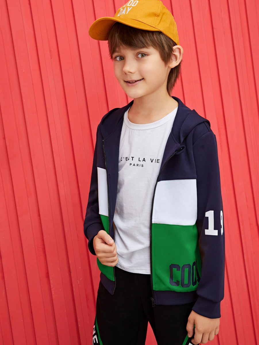 Boys Letter Graphic Colorblock Zipper Up Hooded Jacket