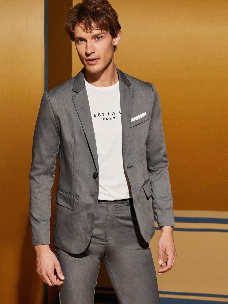 Men Notched Collar Single Button Blazer