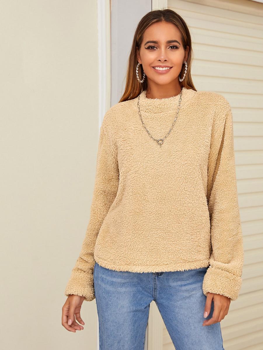 Mock Neck Solid Teddy Sweatshirt