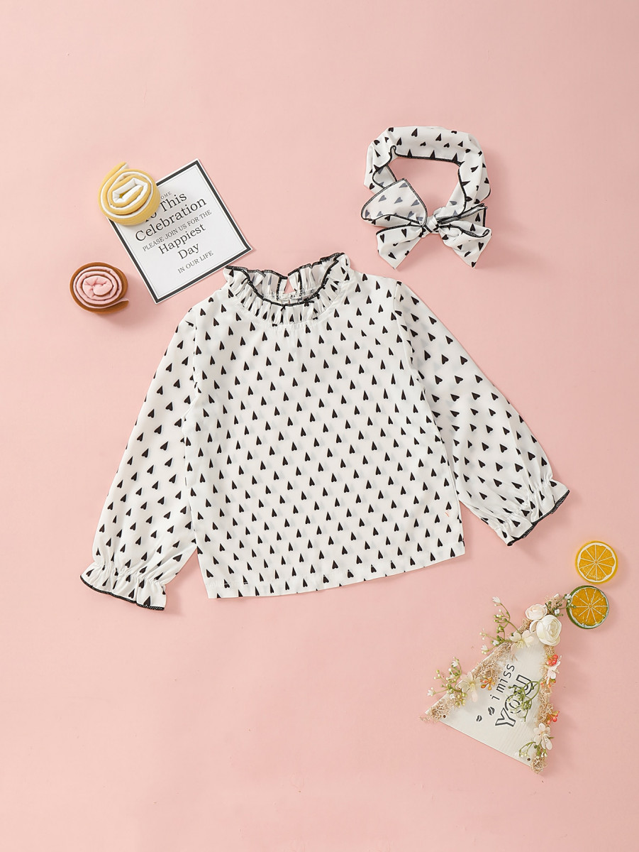 Toddler Girls Confetti Heart Frill Trim Blouse With Headband
