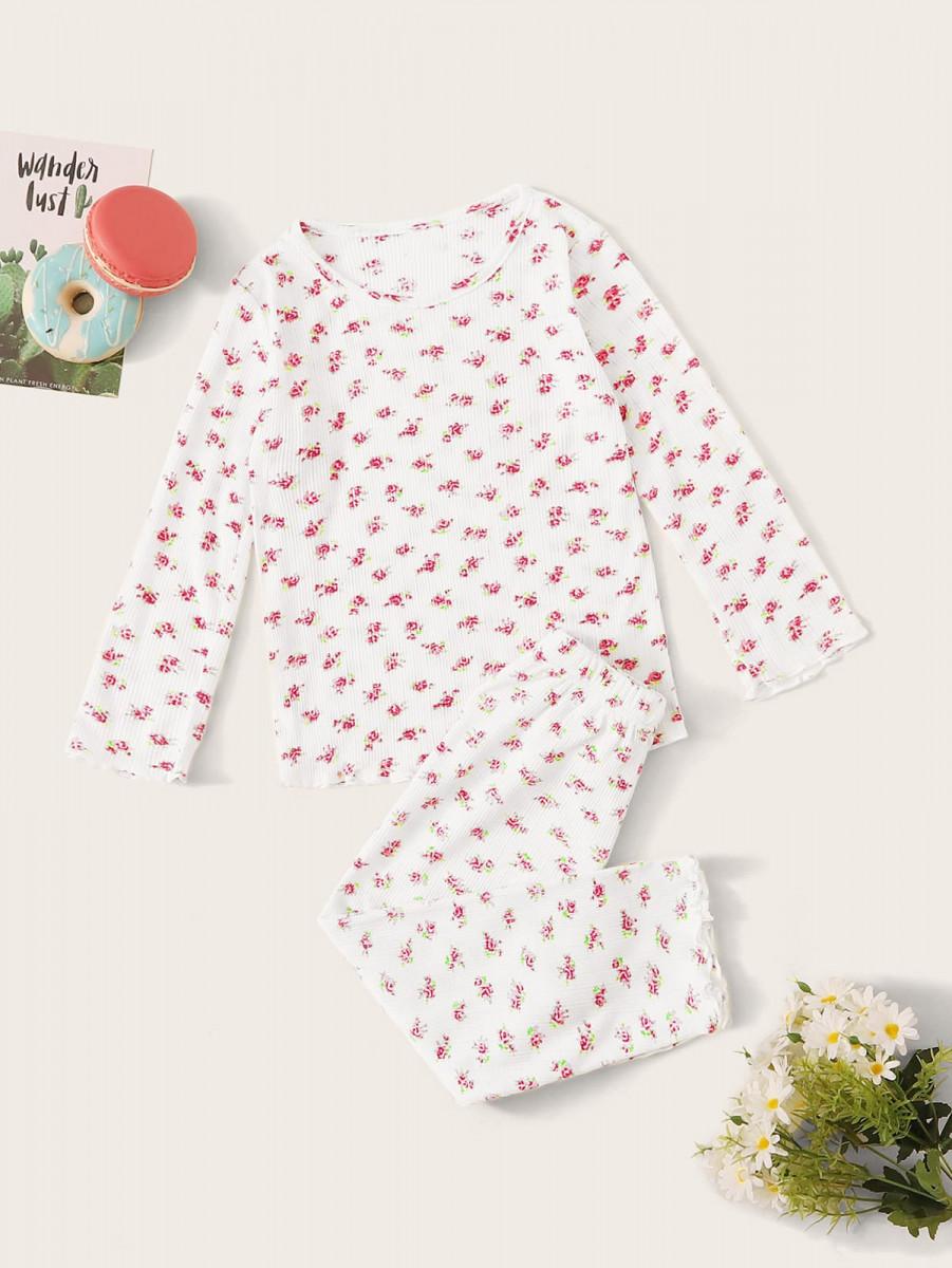 Toddler Girls Calico Print Rib PJ Set