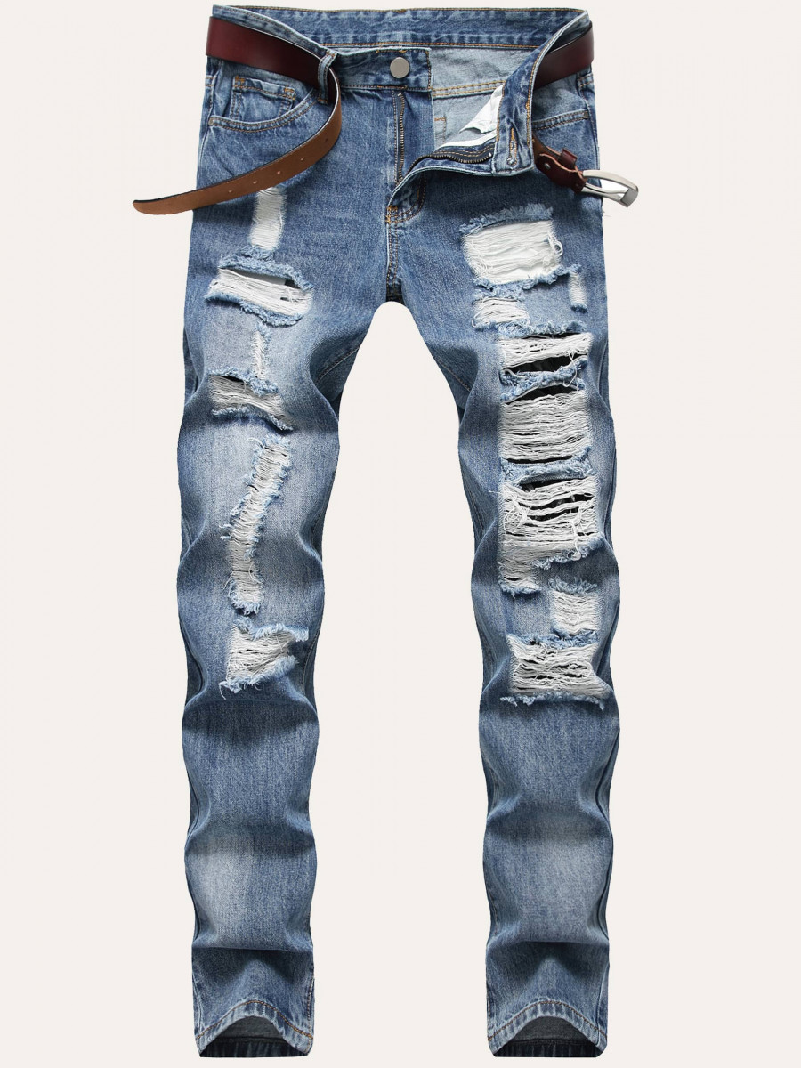 Men Ripped Washed Jeans Without Belted