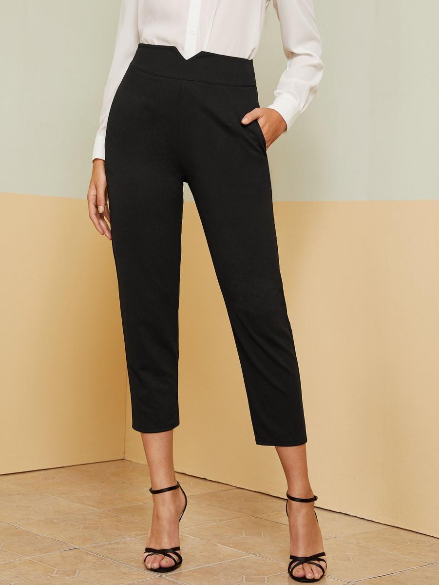 Notched Waistband Slant Pocket Capris Pants