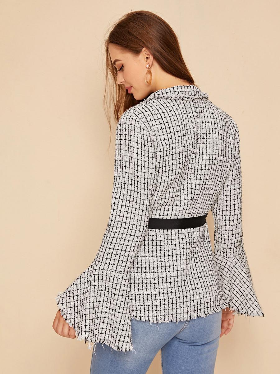 Flounce Sleeve Wrap Knot Plaid Tweed Blazer