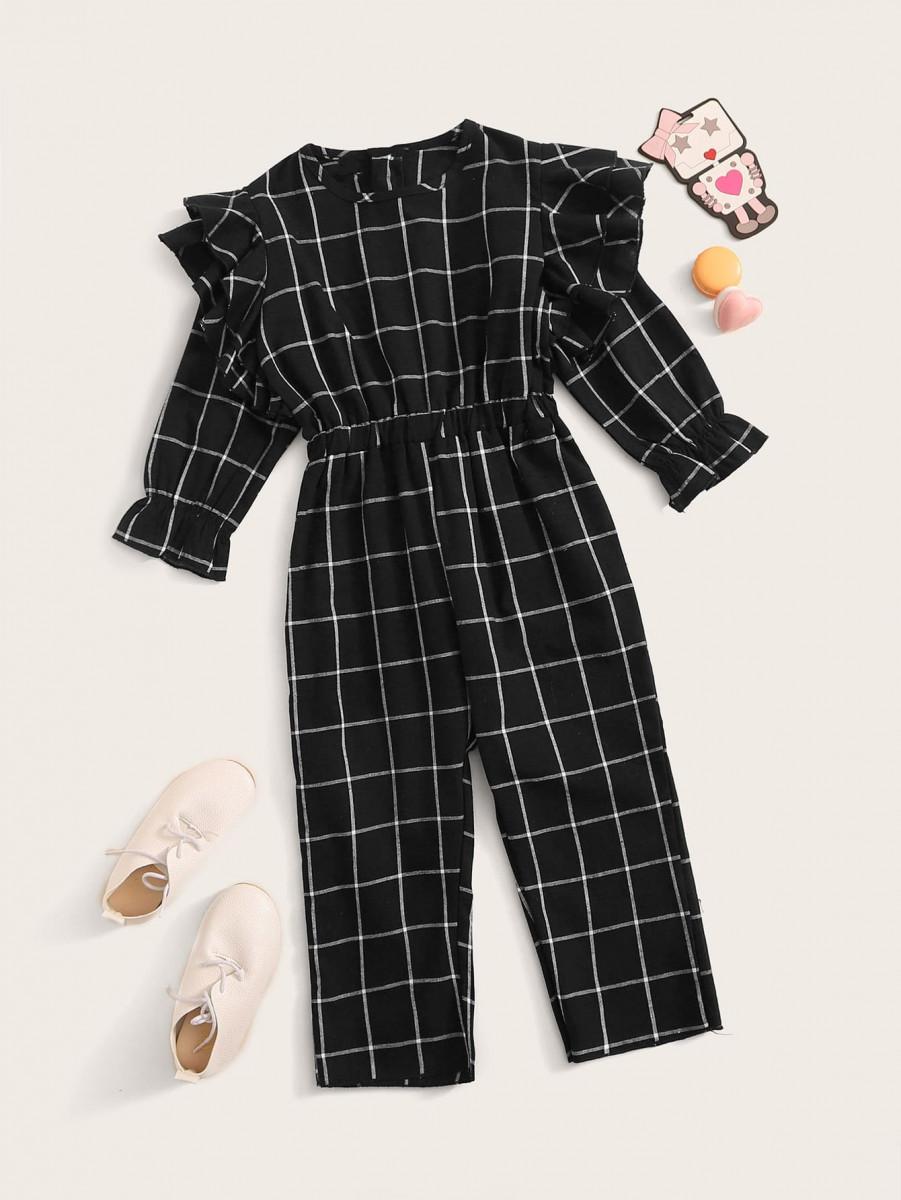 Toddler Girls Grid Plaid Layered Ruffle Trim Jumpsuit