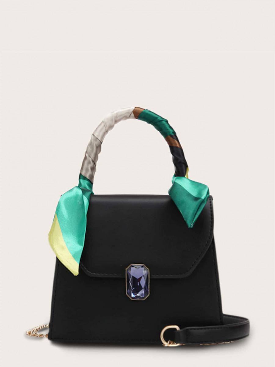 Gemstone Decor Flap Chain Satchel Bag