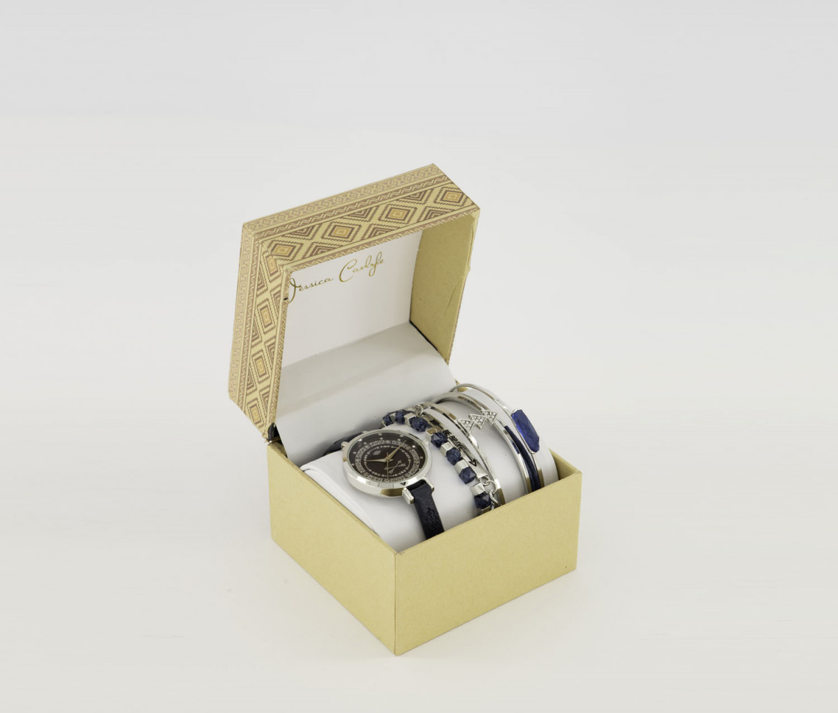 Jessica Carlyle Womens Analog Watch With Bangle Set  Silver/Navy
