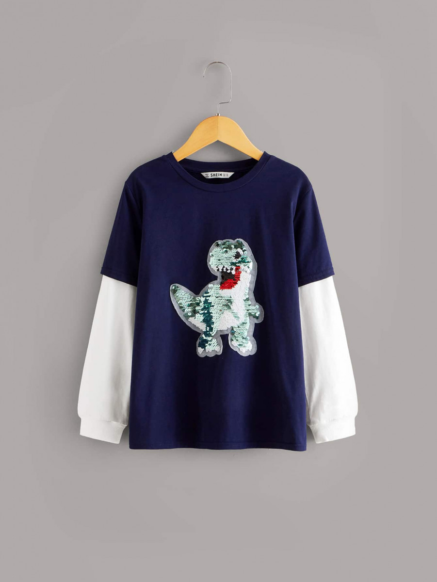 Boys Sequin Dragon Patched 2 In 1 Sweatshirt