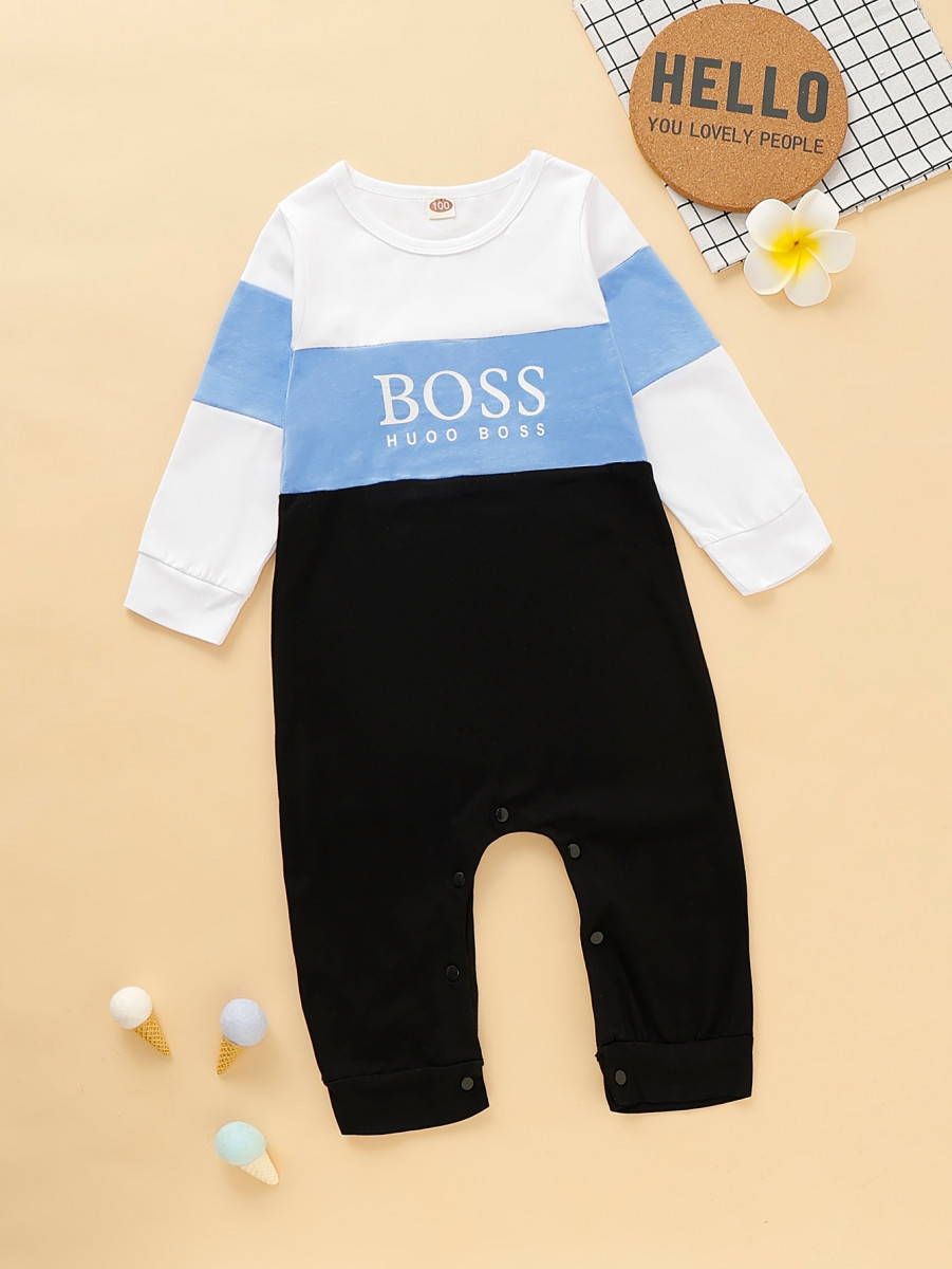 Toddler Boys Cut And Sew Letter Print Jumpsuit