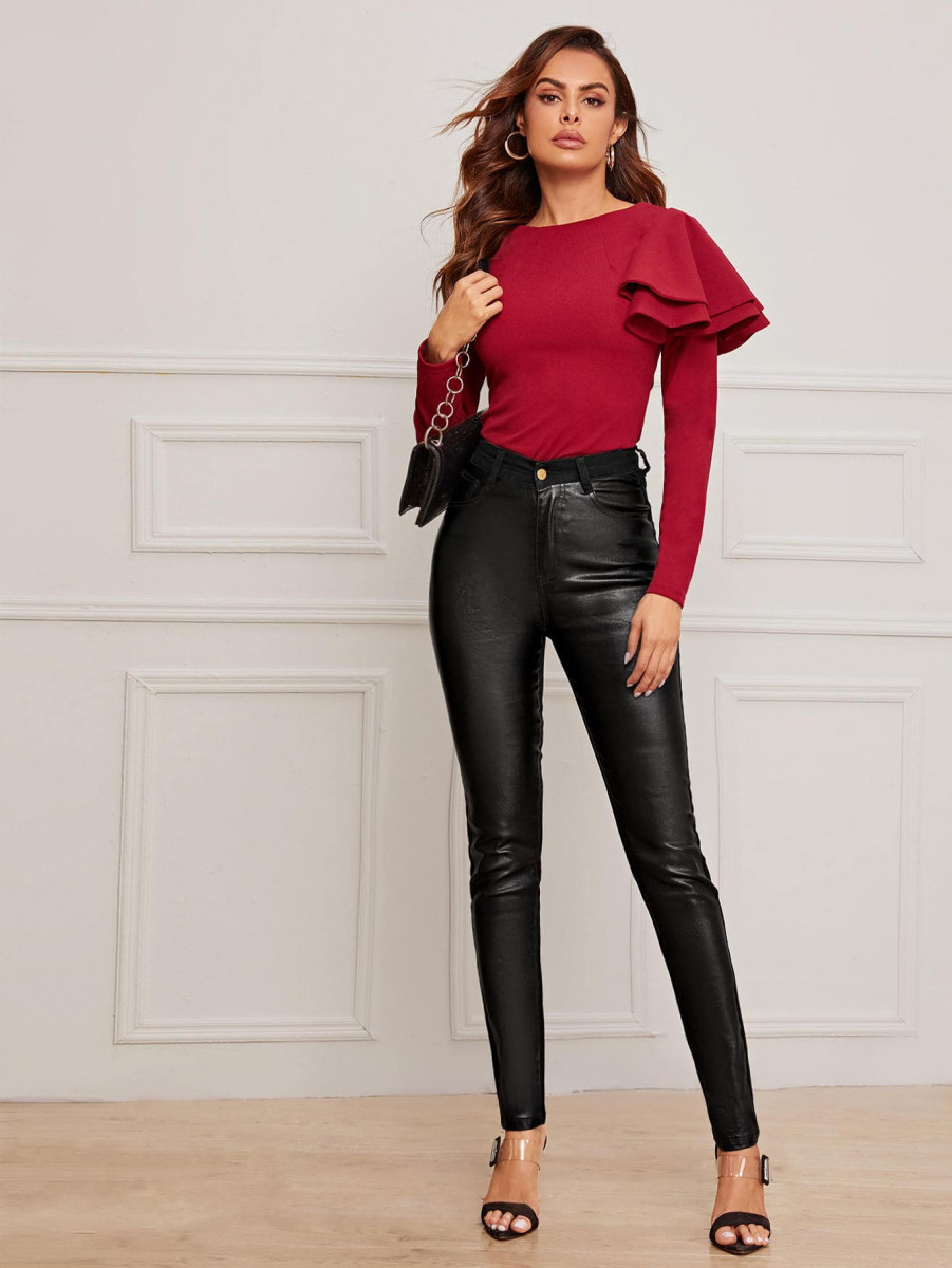 Solid PU Skinny Jeans