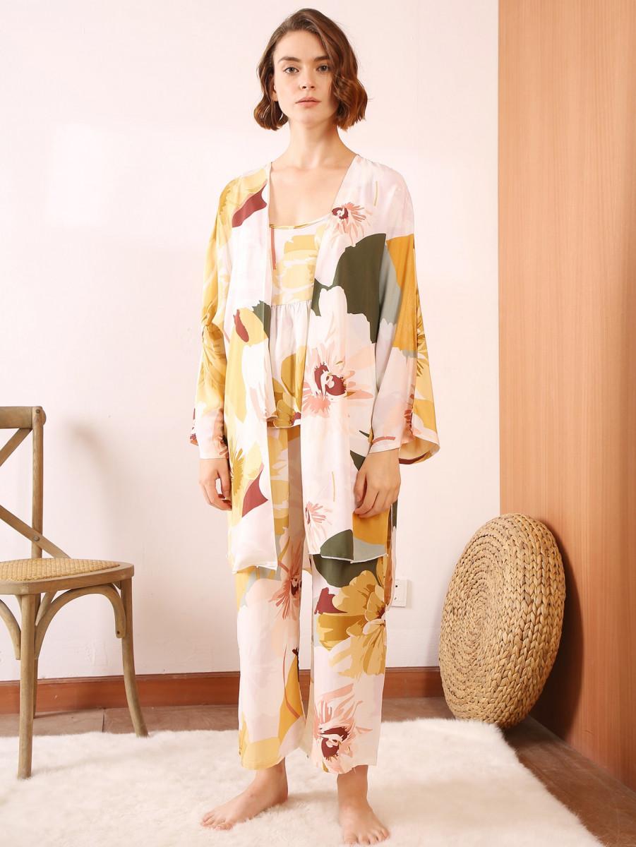 3pcs Floral Print Cami PJ Set With Robe