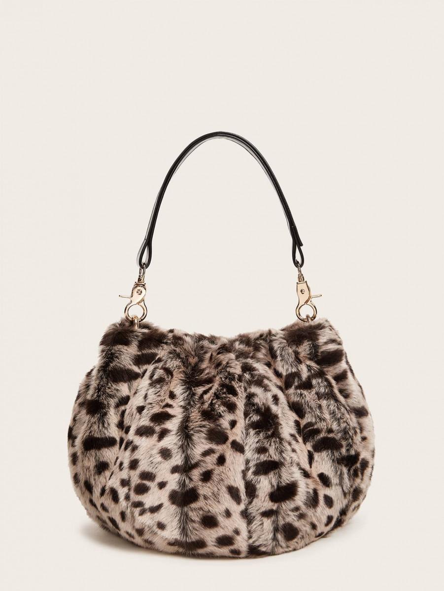 Leopard Fluffy Satchel Bag