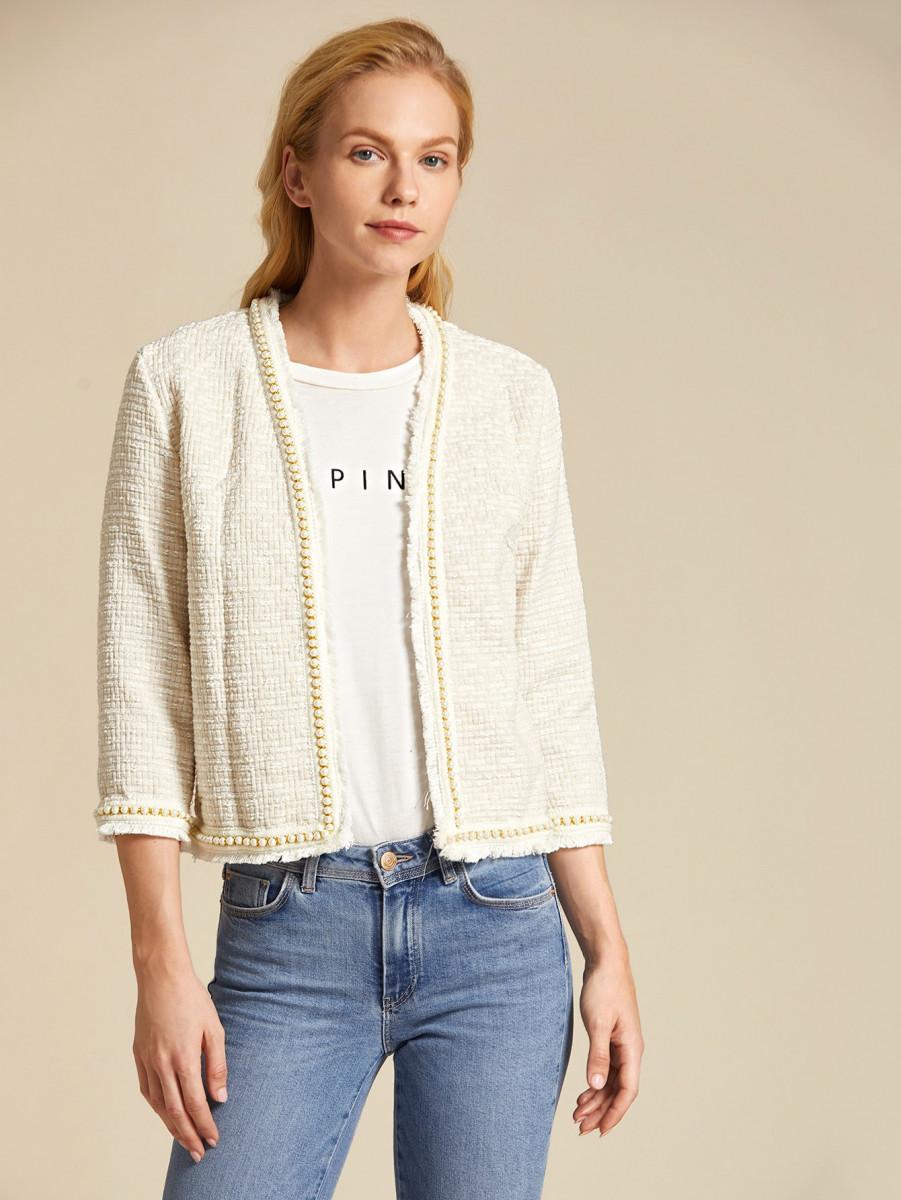 Pearl Beaded Raw Hem Tweed Jacket