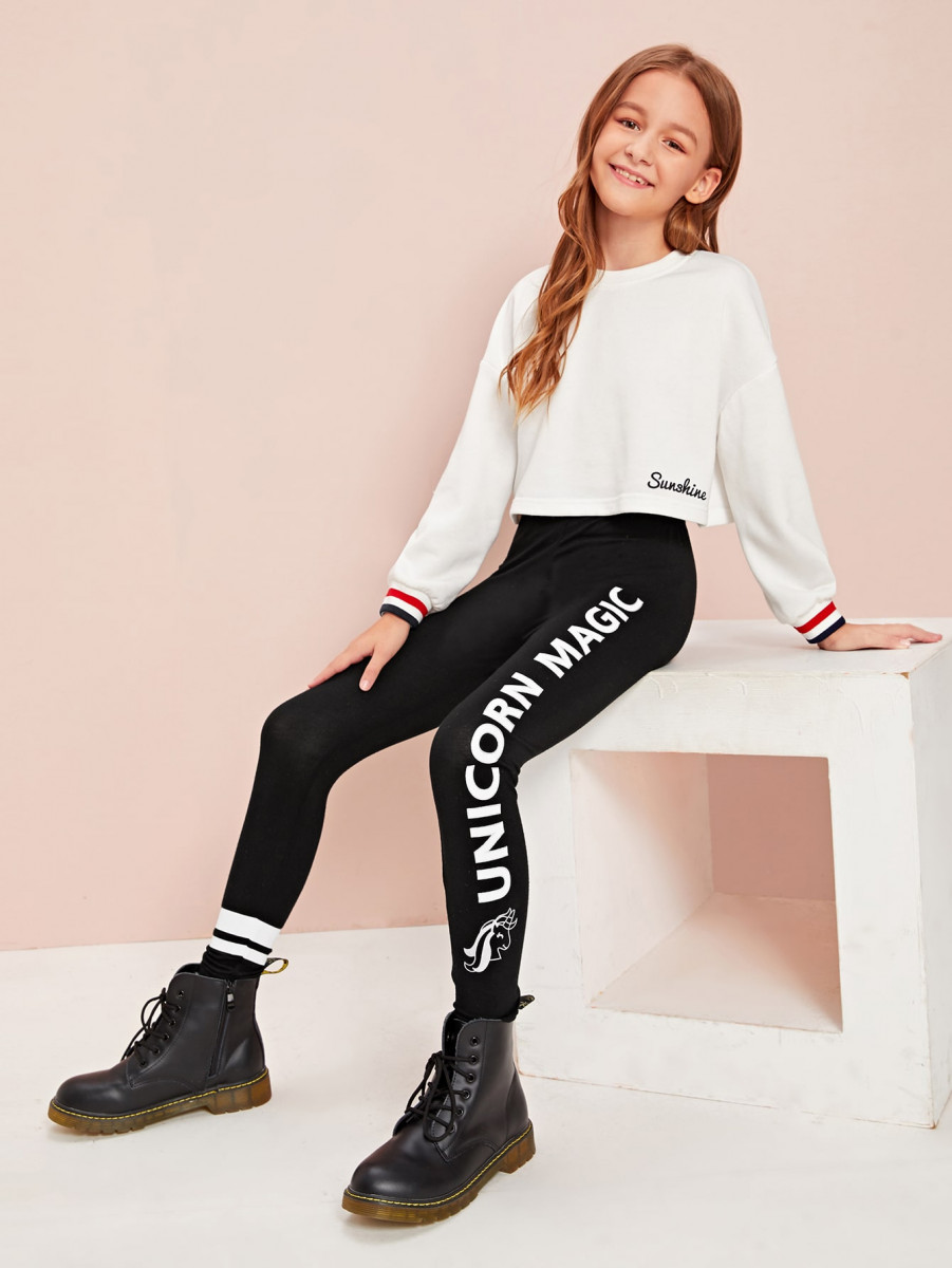 Girls Elastic Waist Slogan Graphic Leggings